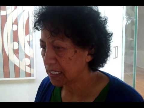 ▶ Kura Te Waru - Rewiri in front of her work 'Aukati (The Line That One Must Not Go Past)' - YouTube
