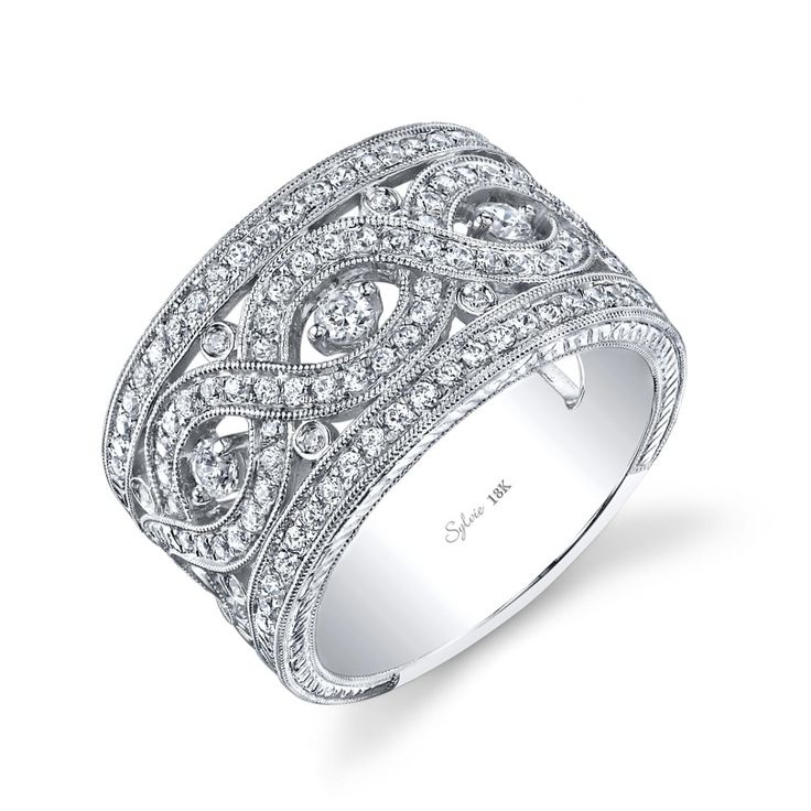 white gold knecklaces | Sylvie 18Kt white gold .75Ct. round brilliant cut diamond filigree ...