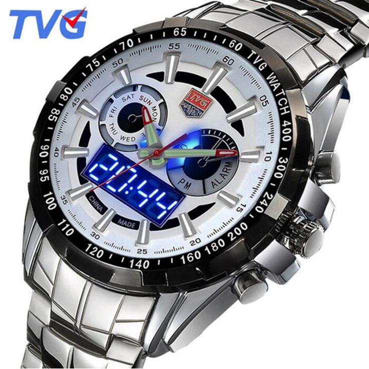 US $57.67 - TVG Fashion Luxury Digital Sports Watch Men's Military Dual time Quartz Wrist watch Waterproof Clock Male 2017 Stainless Steel