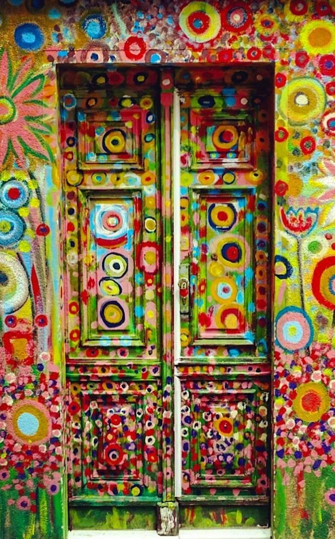 Painted door in Funchal, Madeira, Portugal.