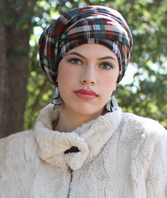 Teal & Brown Plaid Turban Chemo Hat Head Wrap by ...