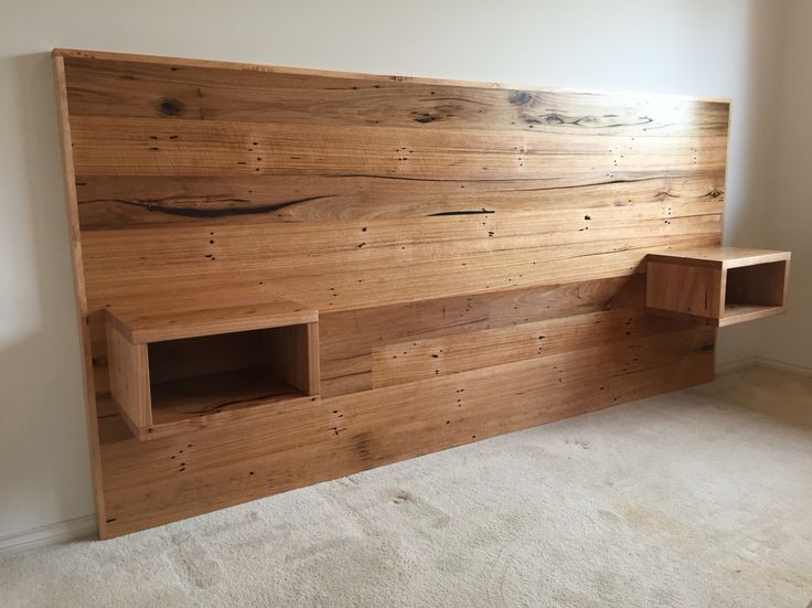 Recycled hardwood timber bed head with floating bedsides
