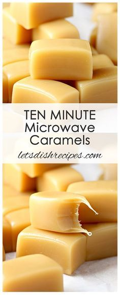 Ten Minute Microwave Caramels Recipe   Delicious, chewy caramels made in 10 minutes or less in your microwave oven!