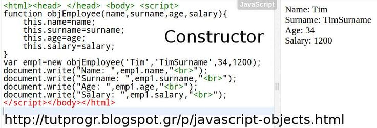 #Javascript #Object Constructor #Programming Code Picture : http://tutprogr.blogspot.gr/p/javascript-objects.html
