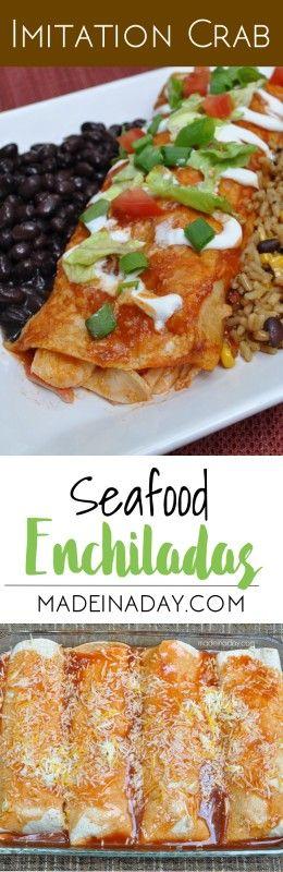 Imitation Crab Seafood Enchiladas Recipe madeinaday.com