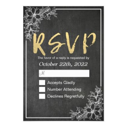 #Gold Script Chalkboard Floral Wedding RSVP Reply Card - #weddinginvitations #wedding #invitations #party #card #cards #invitation #floral