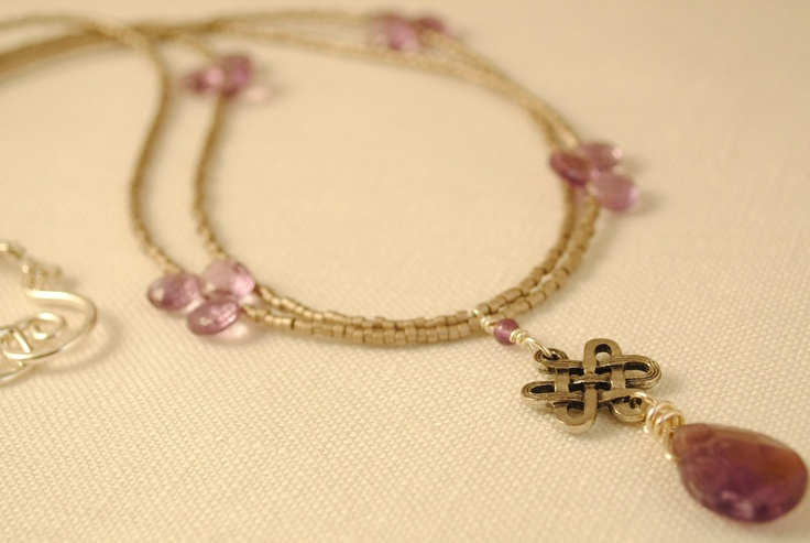 Celtic Knot Amethyst Necklace by theirishlassieshop on Etsy, $35.00, purple, etsy, Celtic