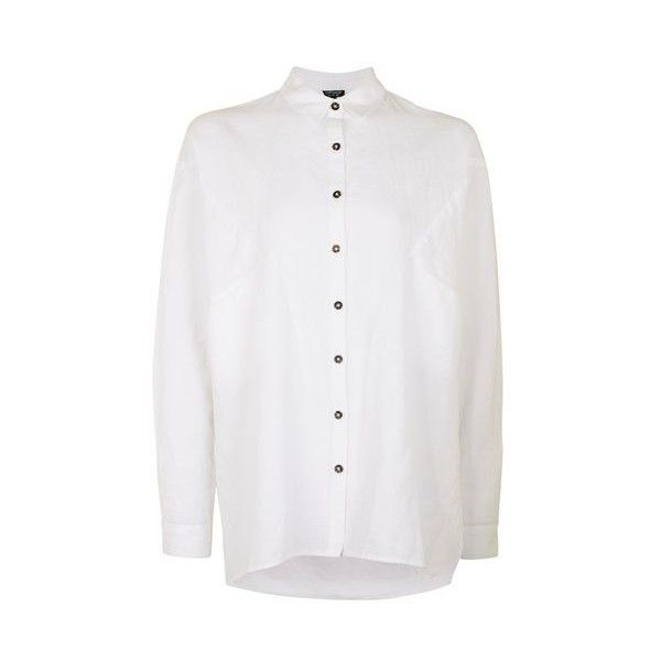 Topshop Tokyo Oversized Neppy Shirt ($41) ❤ liked on Polyvore featuring tops, topshop, shirts, white, oversized white shirt, embroidered top, topshop shirts, topshop tops and oversized boyfriend shirt