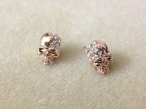 Skull earrings - Skull earrings in rose gold, skull rhinestone earrings. $13.00, via Etsy.