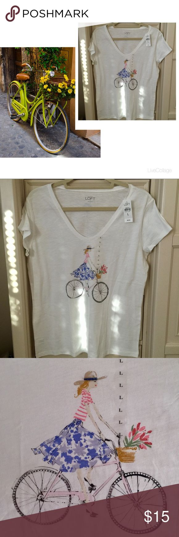 LOFT Feminine T-Shirt (Lady Bicycling w/Flowers) NWT! Beautiful white V-neck short sleeve cotton t shirt. Painting is detailed with a women riding her bike after collecting flowers! Detailed beading on her hat.....flowers in basket have shimmer; spokes on wheels of pink bike are clear gems. This shirt is absolutely adorable!🚲💐🚲💐 LOFT Tops Tees - Short Sleeve