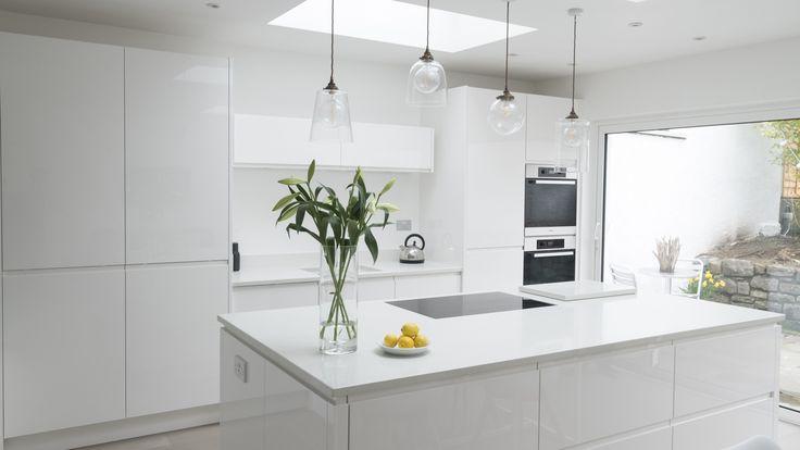 Best Chalkhouse Sleek White Gloss Kitchen White Modern 400 x 300