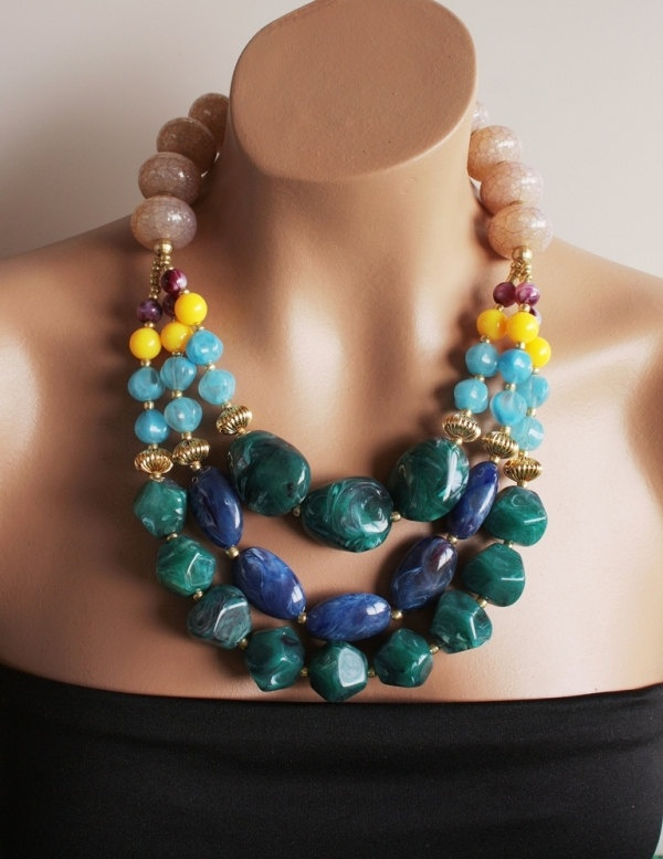 Jewel Toned Beaded Statement Necklace