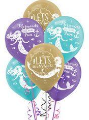 Wishful Mermaid Balloons 6ct  Party City