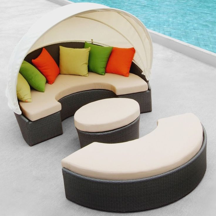 TOSH Furniture   Outdoor Patio Beige Daybed With Canopy