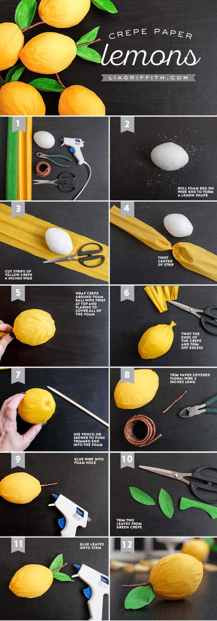 Paper covered craft wire - Diy Crepe Paper Lemons