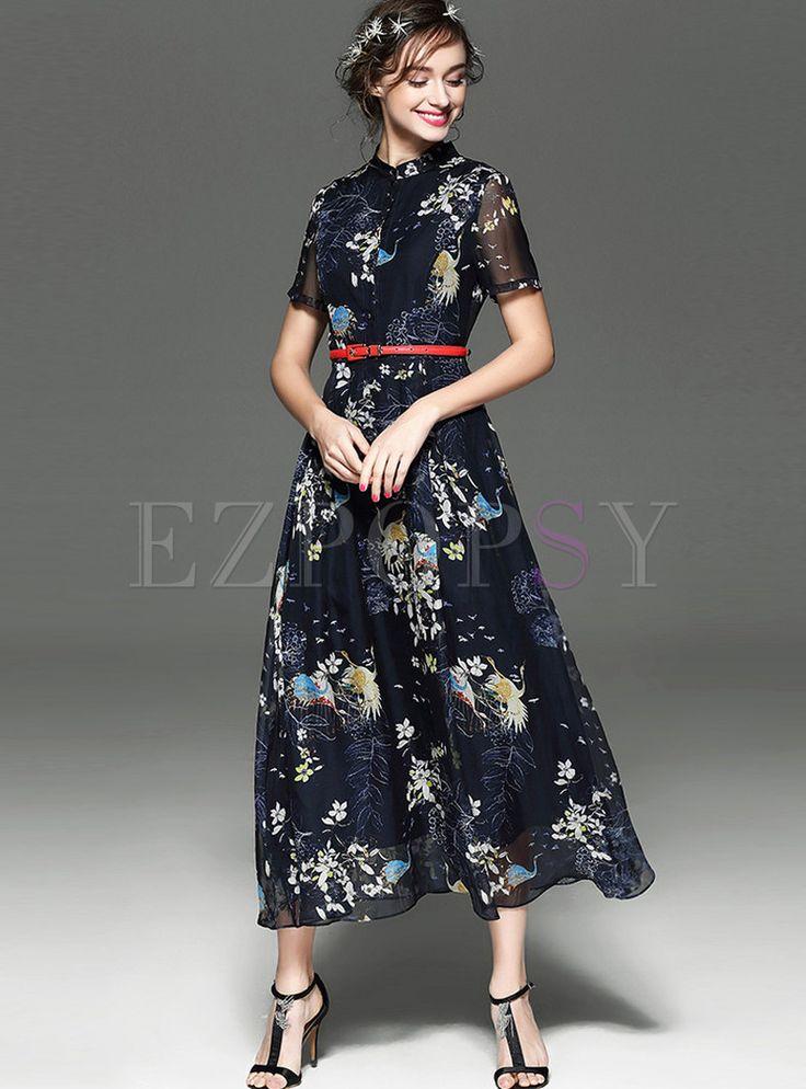 Sexy Print Stand Collar High Waist Maxi Dress
