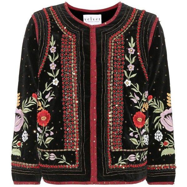 Velvet Adara Beaded Velvet Blazer (£335) ❤ liked on Polyvore featuring outerwear, jackets, blazers, black, velvet jackets, beaded jacket, beaded blazer, velvet blazer and blazer jacket