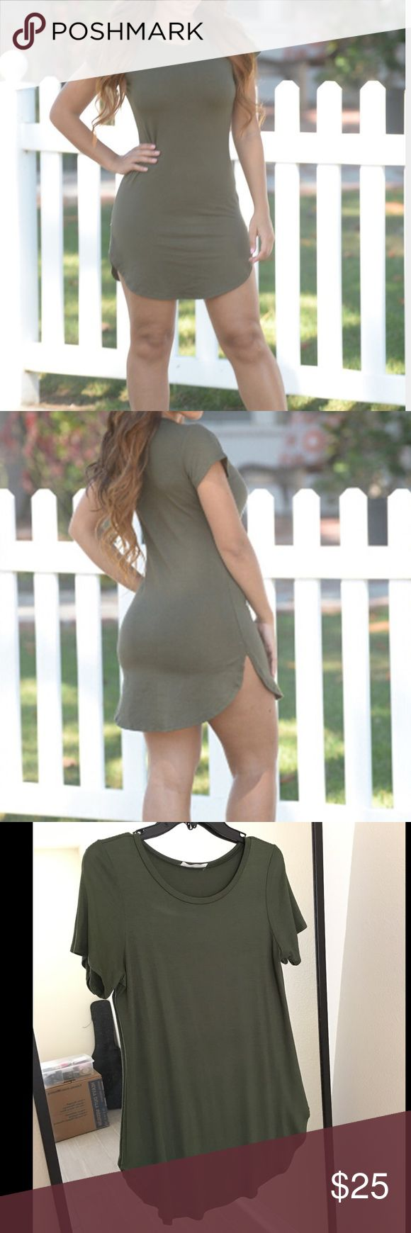 🤑 Olive Green Tunic Dress 🤑 Olive green tunic dress. Brand new. Never worn. Fashion Nova Dresses