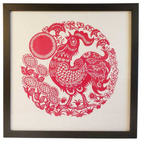 Framed Handmade Traditional Chinese Paper Cut of Crowing Rooster