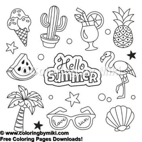 Hello Summer Coloring Page #718 | Summer / Ocean Themed