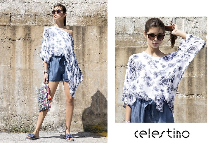 Silk-blend top and tencel shorts. For the office or the day off! #Celestino #shorts #trends #tencel #silk #styleinspiration #ootd #outfits #summerstyle #citylook