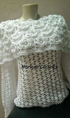 doros chan motif chart | ... patterns: Awesome Flower Cape Style Blouse - Free Crochet Chart