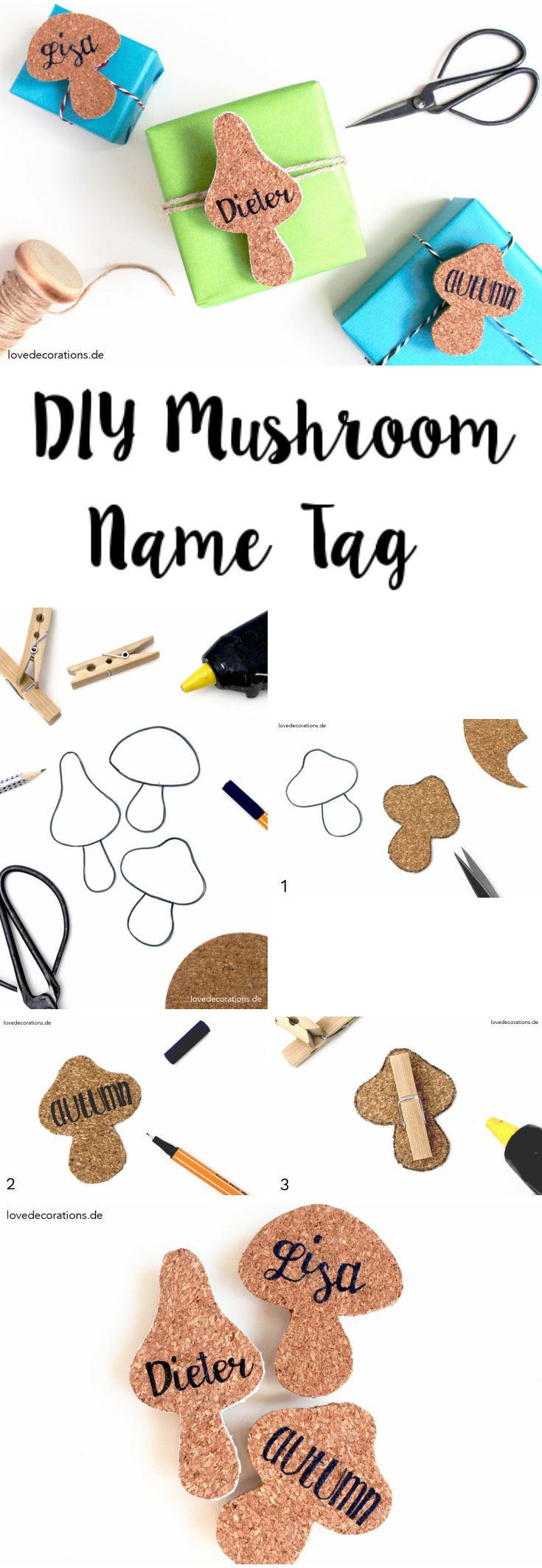 DIY Mushroom Name Tag made of Cork l Tolle Geschenkverpackung l Kork Geschenkanhänger basteln