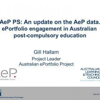 Queensland University of Technology CRICOS No. 00213J AeP PS: An update on the AeP data. ePortfolio engagement in Australian post-compulsory education Gill. http://slidehot.com/resources/aep-ps-an-update-on-the-aep-data-eportfolio-engagement-in-australian-post-compulsory-education.41987/