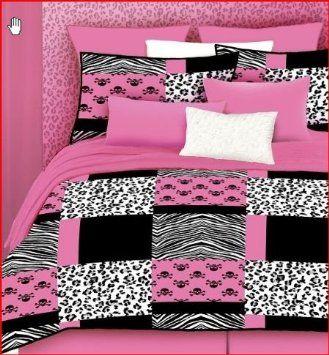 Veratex Pink Skulls Bed-In-A-Bag Micro-Fiber, Pink/Black/White