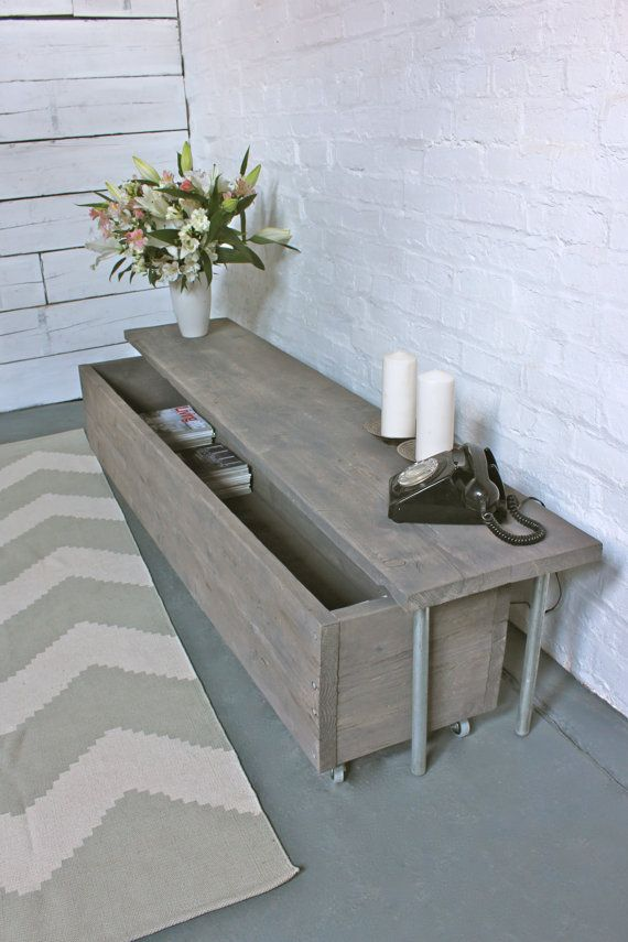 Reclaimed Grey Washed Scaffolding Board Long Low Bench with Wheel Out Drawer Unit Below- Its salvaged vintage industrial design works perfectly in a