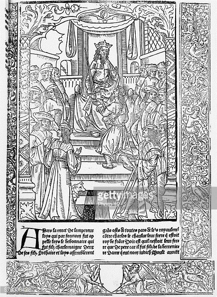 Great Chronicles of France Louis the Pious (also called Louis le Debonnaire), son of Charlemagne, succeeds to the throne in 814. Woodcut from a 15th century edition of the Great Chronicles of France, published by Antoine Verard. Paris, Bibliotheque Nationale de France.