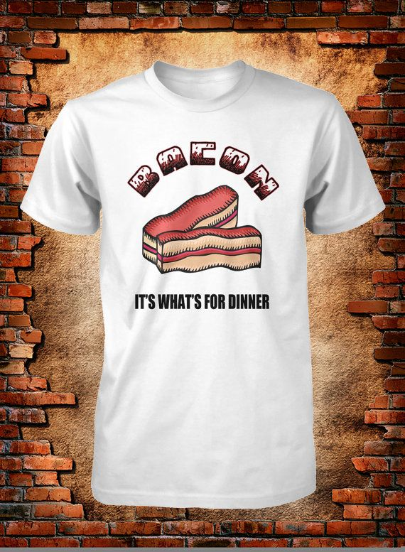 Funny Bacon Tee Its What's for Dinner Mens S M by FunhouseTshirts