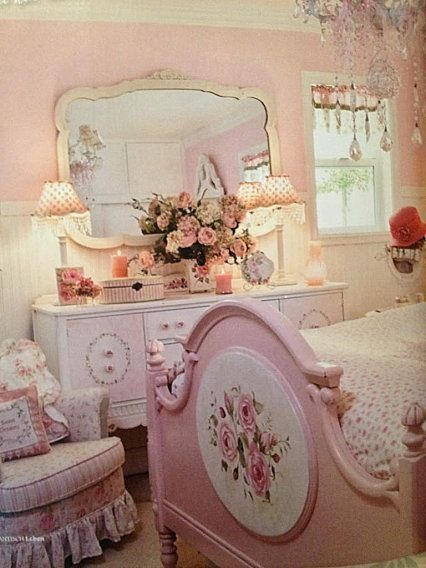 Beautiful pink shabby chic bedroom for K - http://ideasforho.me/beautiful-pink-shabby-chic-bedroom-for-k-2/ #shabbychicbathroomspink