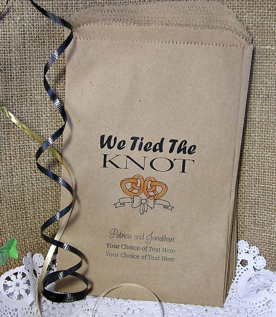 Personalized Pretzel Bags 24 BAGS  Wedding Pretzel Bags, wedding favors, rustic wedding