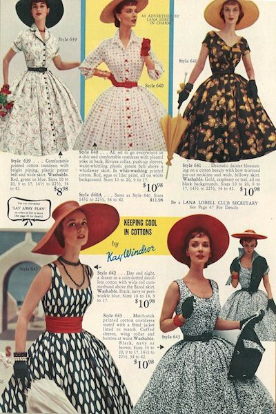 Love all of the hats in this 1950s Lana Lobell fashion catalog!   Oh I had forgotten all this Catalog! We would order a new dress for every Easter with hat, gloves and purse to match to go to church. It's the only time I wore a dress besides school uniform. I was such a Tomboy!