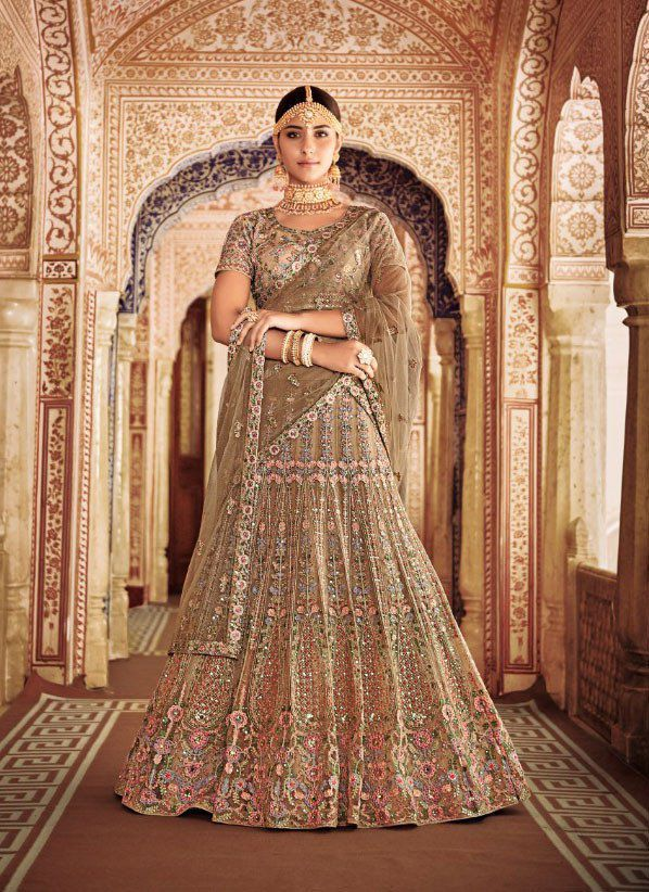 6cd0925215 Buy Beige color silk and net Indian wedding lehenga in UK, USA and Canada  in 2019   pinterest   Bridal lehenga choli, Lehenga choli, Lehenga