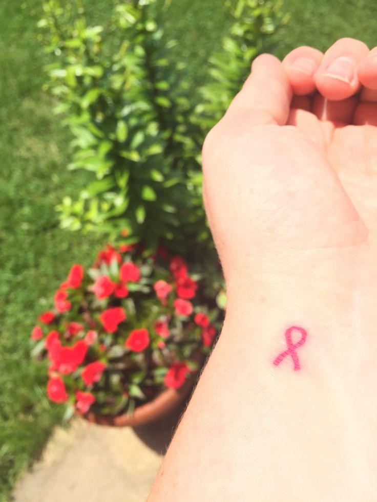 Breast cancer ribbon tattoo