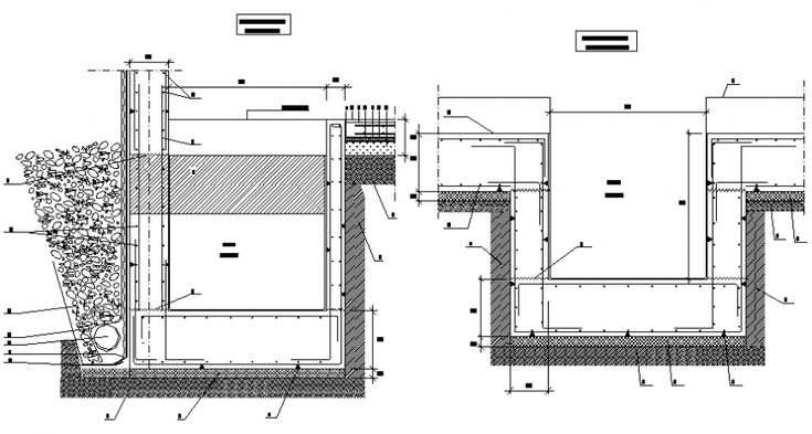 Hollow pit elevator section and installation details dwg