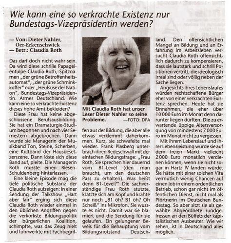 Sehr guter Leserbrief von Dieter Nahler über die bunte Papageien-Tulpe Claudia Roth! Claudia Roth erklärt uns den B1-Level, den je...