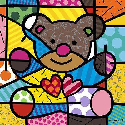 Romero Britto Urso Teddy Animal Amizade criança crianças Coração impressão cartaz 11 X 14