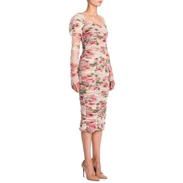 Dolce & Gabbana Tulle Floral-Print Cotton Dress ($3,695) ❤ liked on Polyvore featuring dresses, sweetheart dresses, floral cotton dress, tulle dress, long sleeve floral dress and dolce gabbana dress