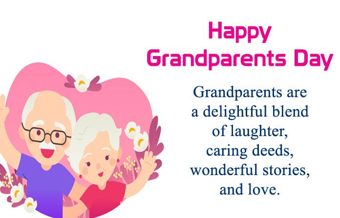Cute Happy Grandparents Day Greeting Image With Wishes