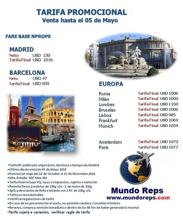 Oferta de Pasajes Aéreos a Europa. Reserva vuelos baratos y ofertas aereas a Europa. www.mundoreps.com