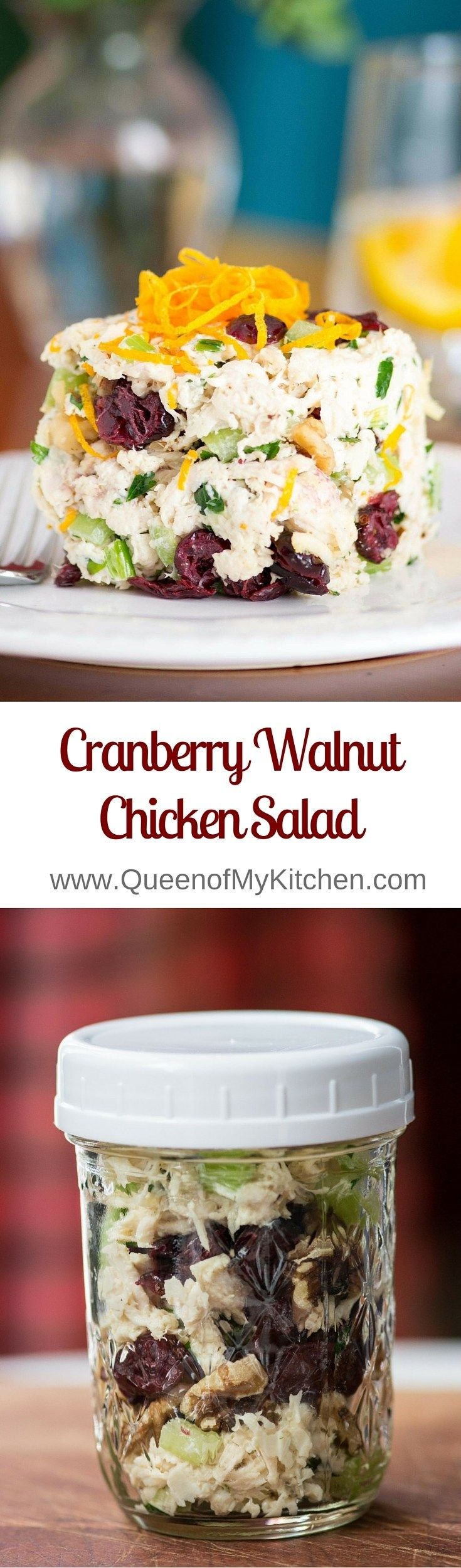 Cranberry Walnut Chicken Salad is classic chicken salad made with avocado mayonnaise and dotted with cranberries, walnuts, and a hint of orange zest. The cleanest, freshest tasting chicken salad ever!   QueenofMyKitchen.com