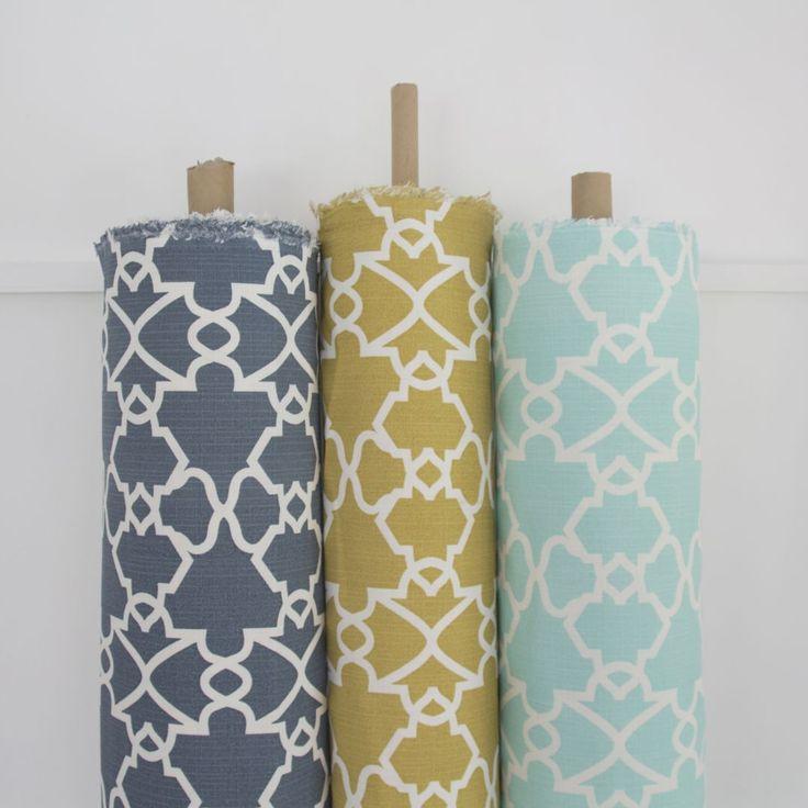 Elle Kay Fabrics Trellis available in Denim; Mustard and Spearmint