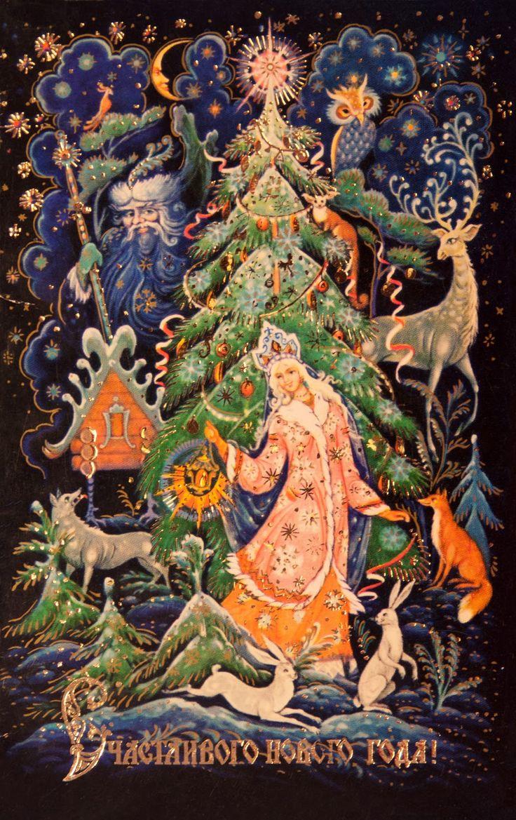 Картинки, новогодние открытки в стиле палех