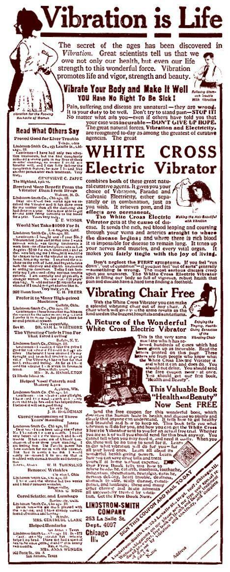 Vibration is Life - The Wonderful White Cross Electric Vibrator - 1910