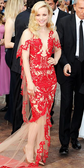 RACHEL MCADAMS IN MARCHESA, Cannes 2011 Something dramatic and red for a carpet to match: McAdam's illusion Marchesa gown with sheer sweeping train.