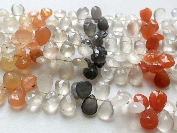 Multi Moonstone Faceted Pear Beads Moonstone Pear by gemsforjewels