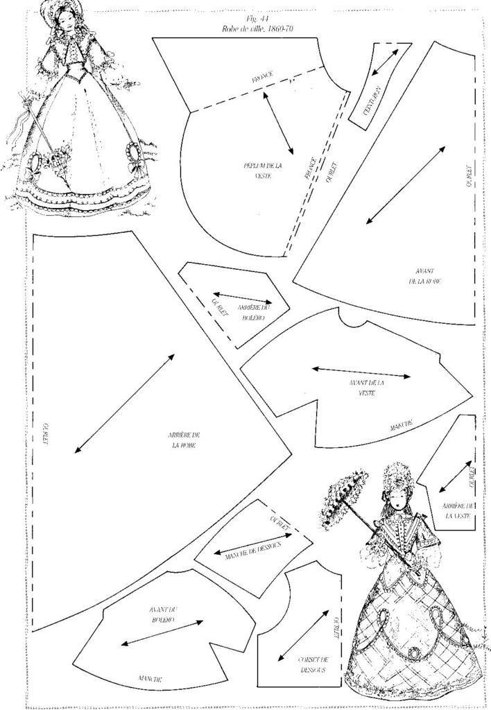 Foro de casas de muñecas y miniaturas :: Ver tema - Patrones de vestidos- 1860-70 doll clothes